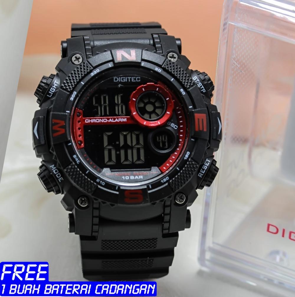 Digitec - jam tangan sport Pri - original - Display digital - tali karet - Water