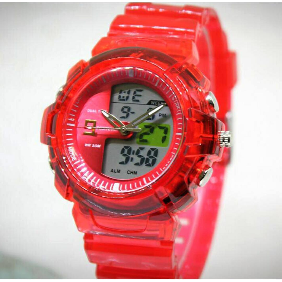Fortuner Sport Fr 872 Dark Pink Jam Tangan Anak Rubber Strap Dual Time J908 Wanita Original