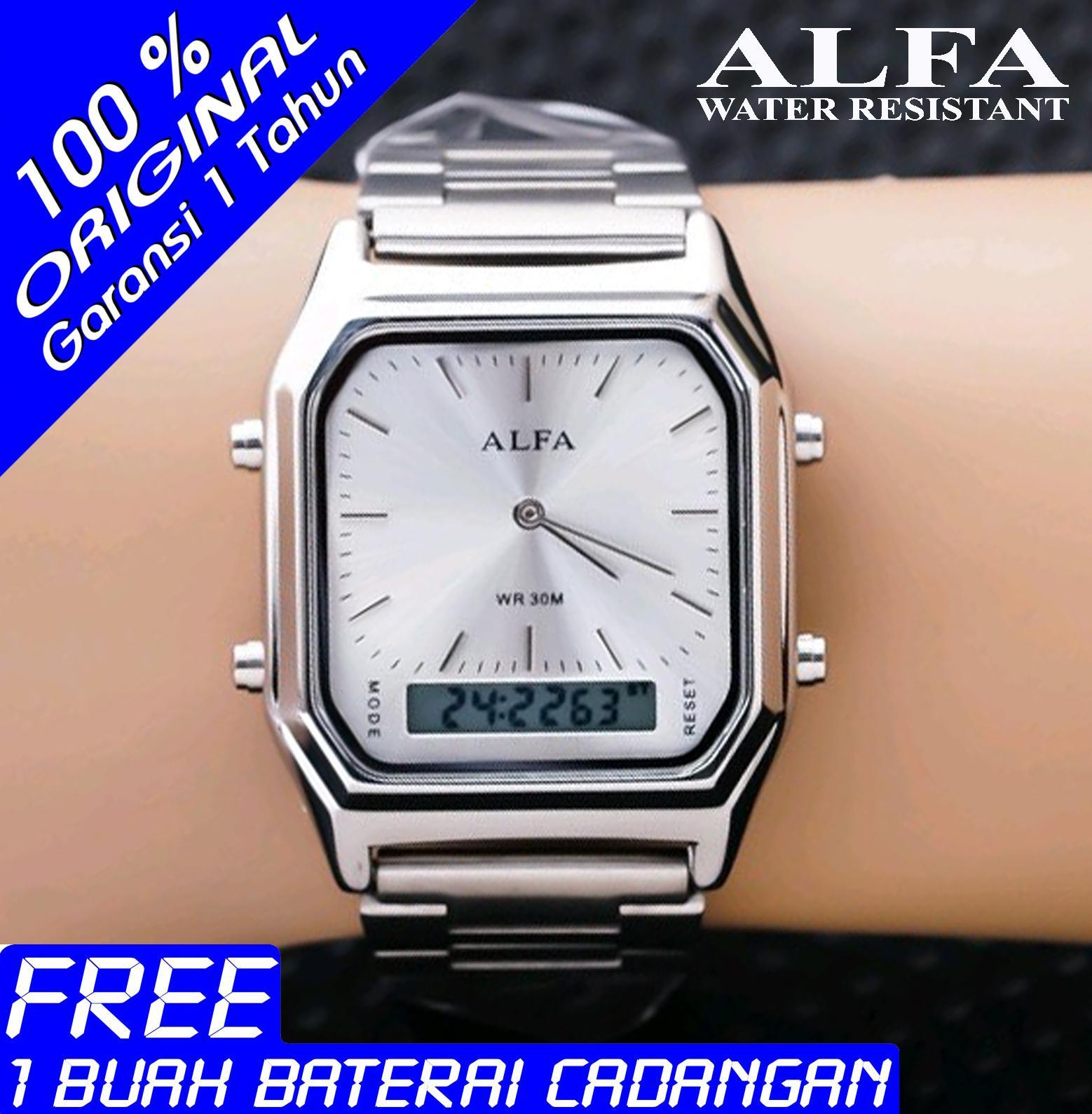 Alfa Dual Time - Jam Tangan Wanita - W 8003 - Stainlesstell Strap Rantai