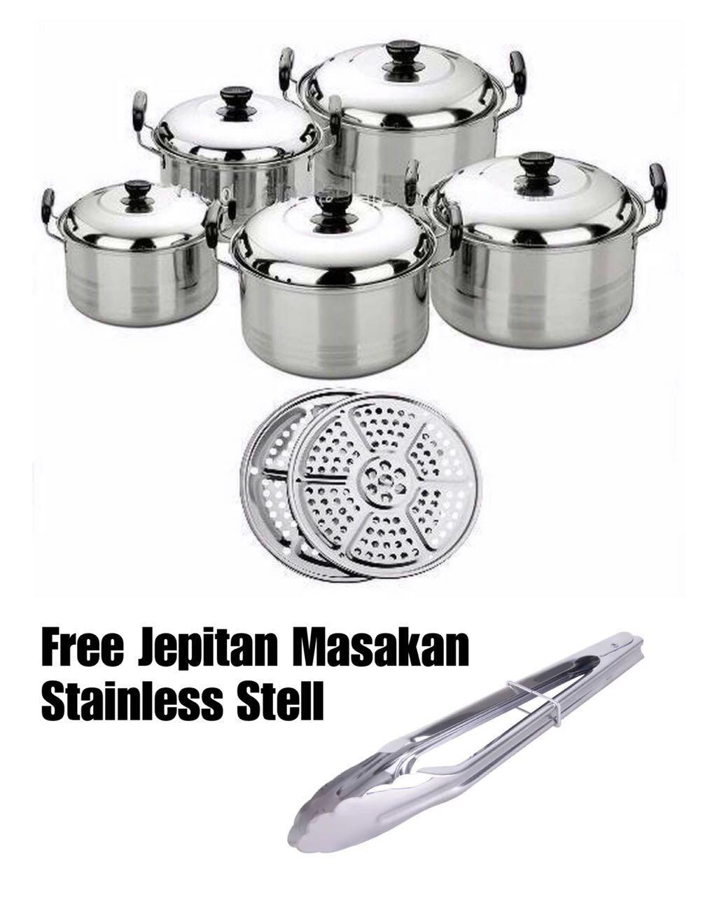 America High Pots Panci Set 5 in 1 + Kukusan / Steamer / Langseng FREE Jepitan Masak Stainless Steel