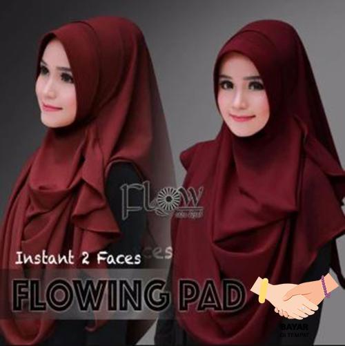 Hijab Pashmina Instan Flowing Pad - Maroon