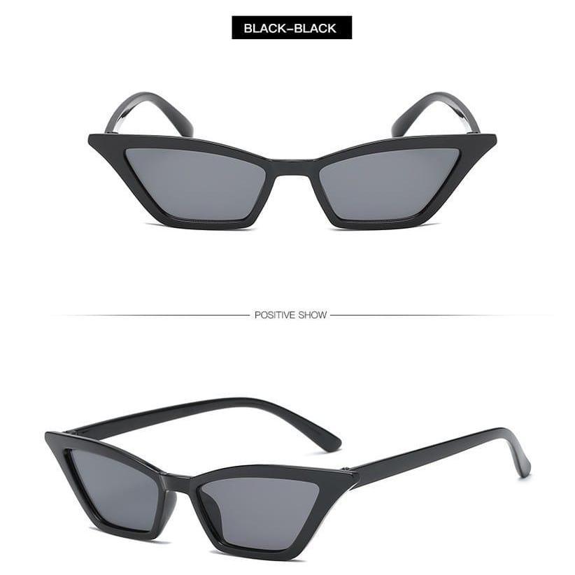 Kacamata Import Sunglass Desain Cat Eye Gaya Vintage Mewah untuk Wanita & Pria - HITAM