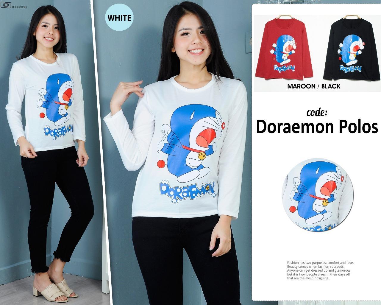 MichelleStore Kaos Wanita / Baju Atasan Doraemon Marah-Marah - White