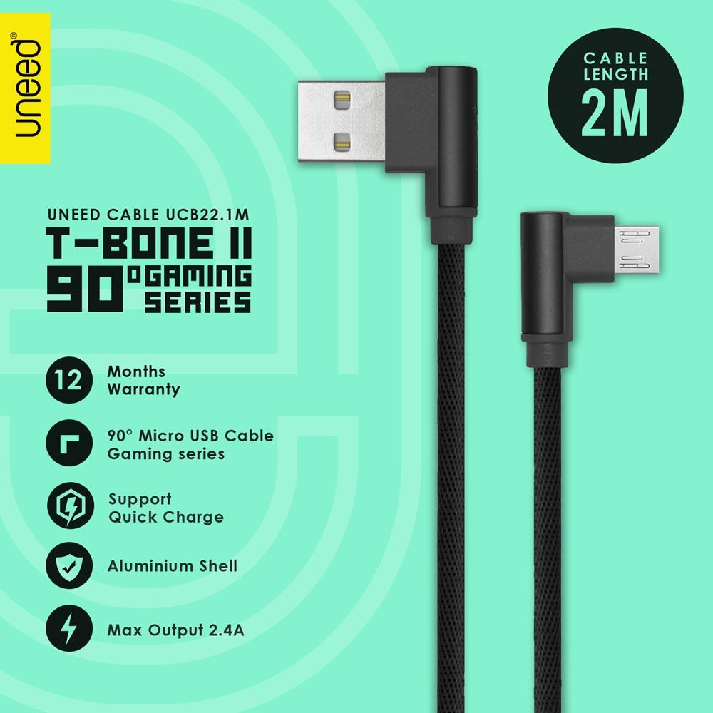 UNEED T Bone II Kabel Data Micro USB Quick Charging 2M - UCB22.1M -