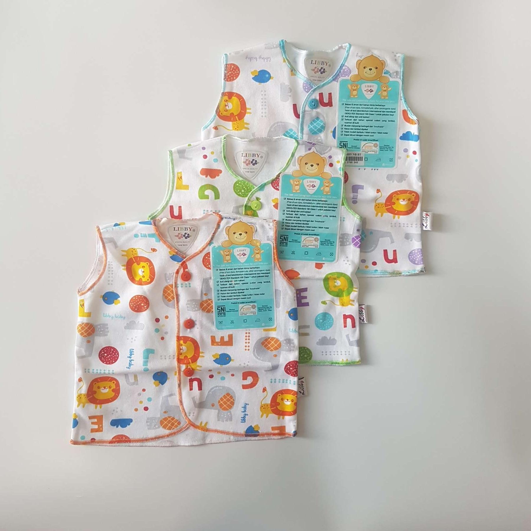 3pcs baju lengan buntung bayi libby (newborn)