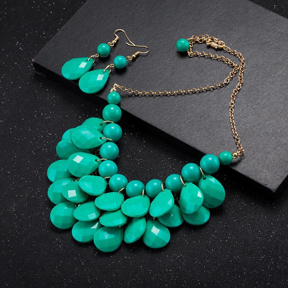 Jual panas berlebihan perhiasan merek grosir fashion paduan anting kalung set ekspor FSS004-D FSS004
