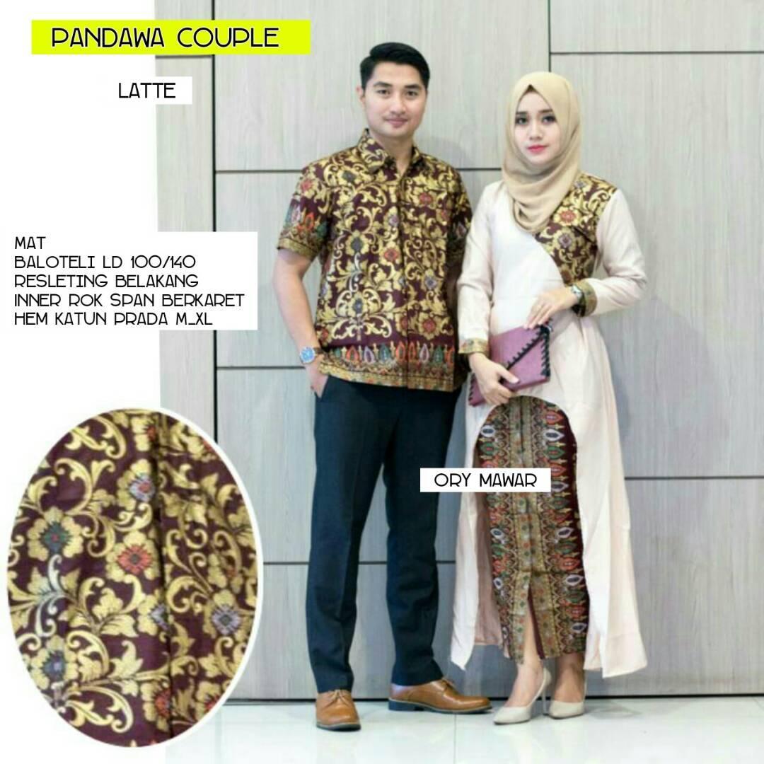 TERMURAH - Baju batik couple - baju muslim wanita terbaru 2018 - kebaya coupel Modern - Couple Batik - Batik Sarimbit - Batik Kondangan - Baju batik  Pandawa Late