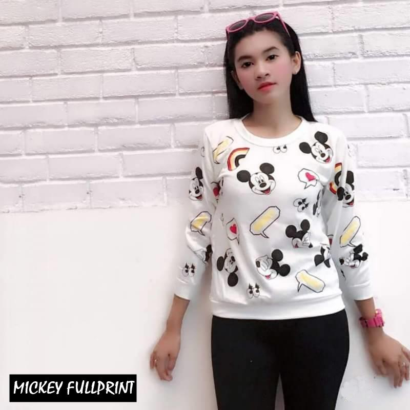 MICKEY FULLPRINT     noouska shop     jaket sweater baju atasan blouse rajut hijab terbaru kekinian cewek wanita murah    