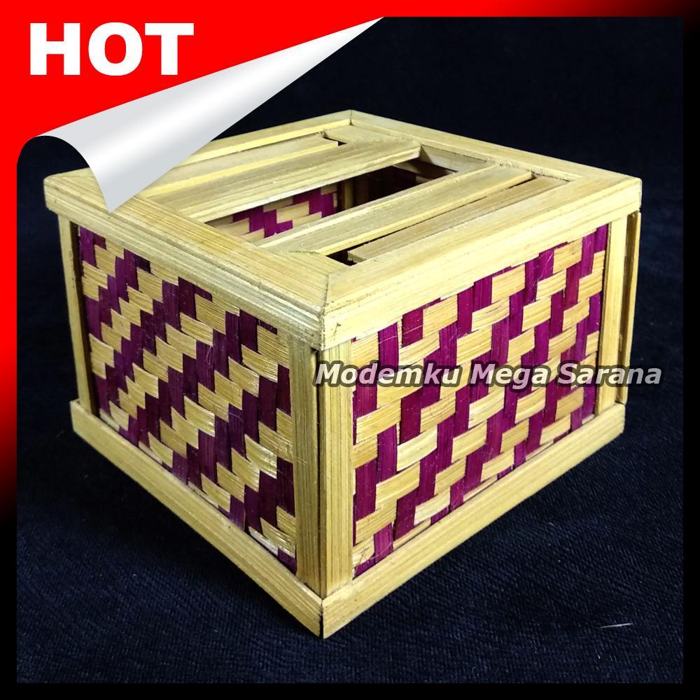 Kotak Box Tisu Anyaman Bambu 13x13x9 cm