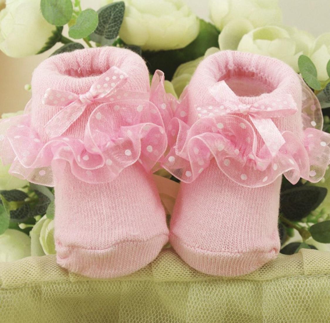 Jual Kaus Kaki Bayi Perempuan Terbaik Baby Girl Prewalker Shoes Fluffy Pink Ribbon Sepatu Lucu Imut Kaos Newborn Polkadot Renda Manis Dan Bigbabyshop