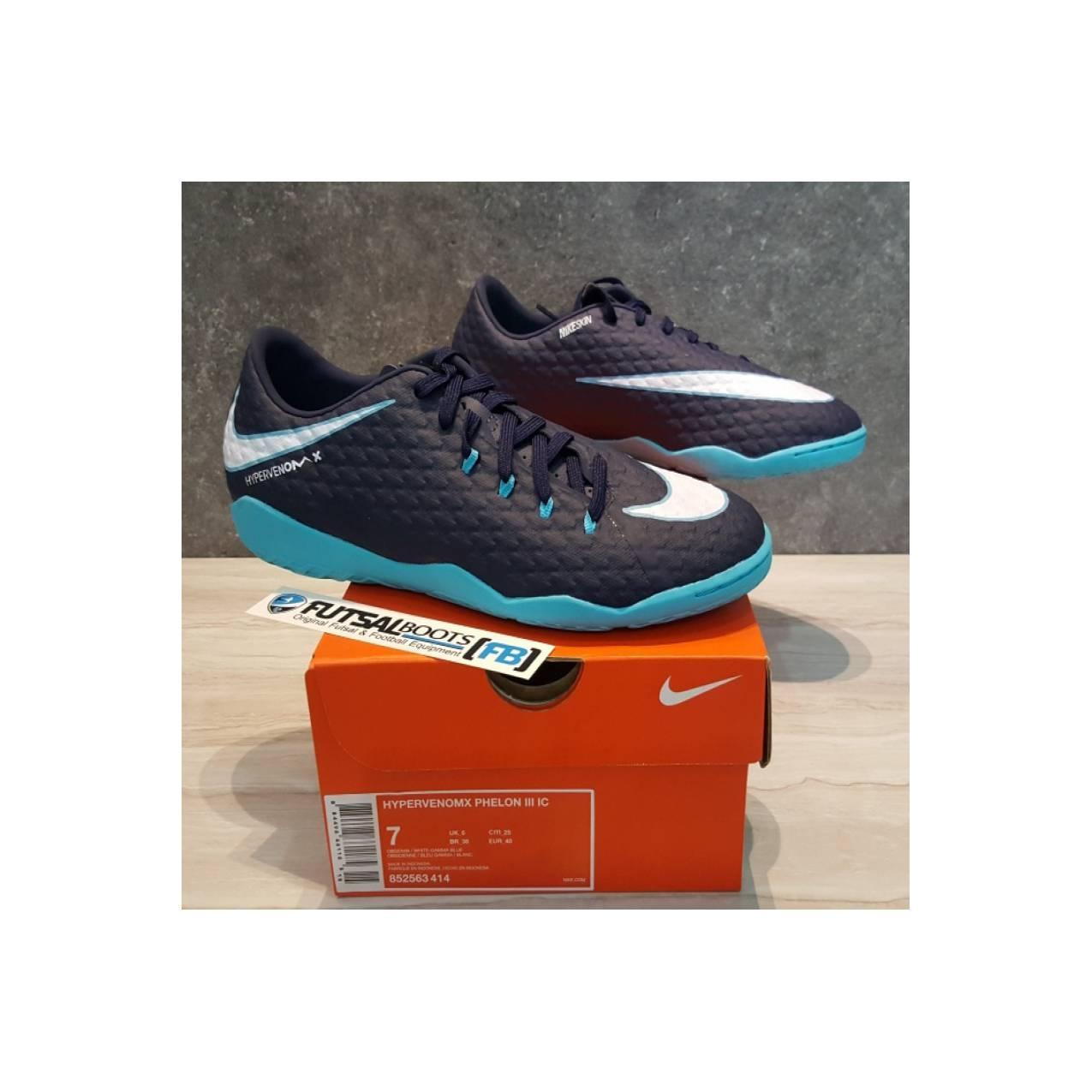 Sepatu Futsal Nike Hypervenom X Phelon III IC - Obsidian/White