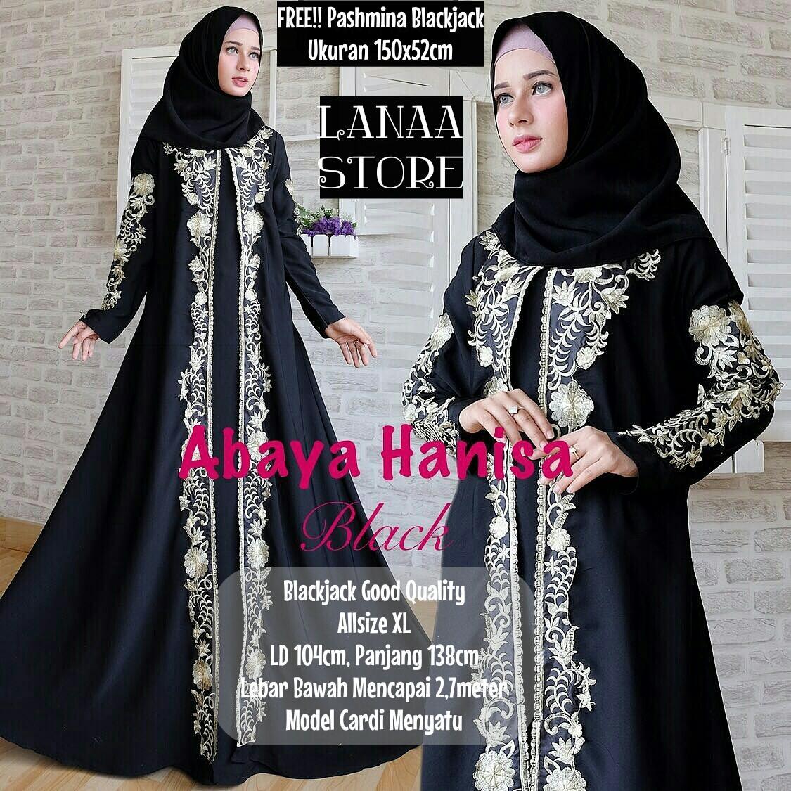 Baju Gamis Hitam Wanita Muslimah Modern Terbaru / Maxi Dress Abaya Hanisa Black-FREE PASHMINA