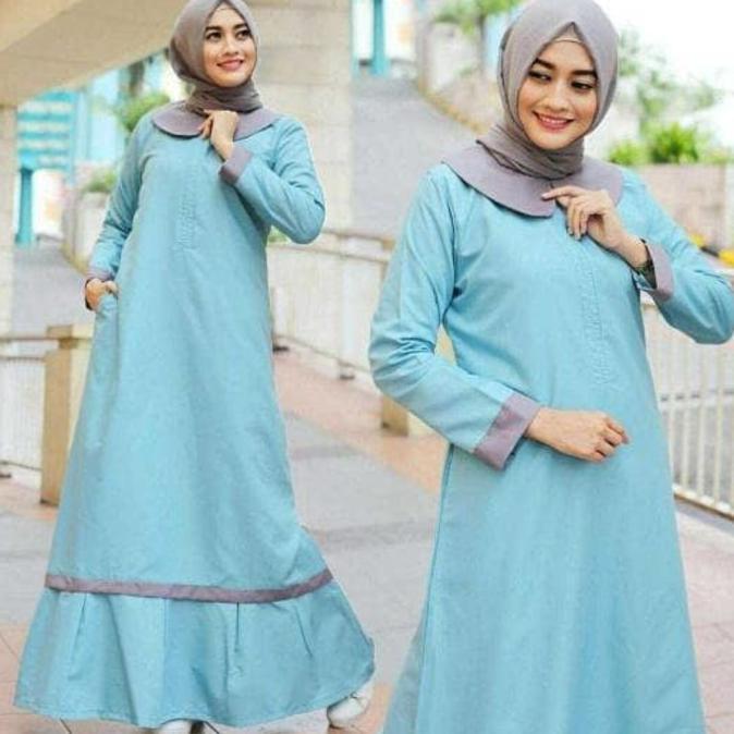 Terbaik Baju Atasan Muslim Murah /Gamis Murah Bella Dres Biru Muda | Baju Lebaran Muslim Wanita Anak