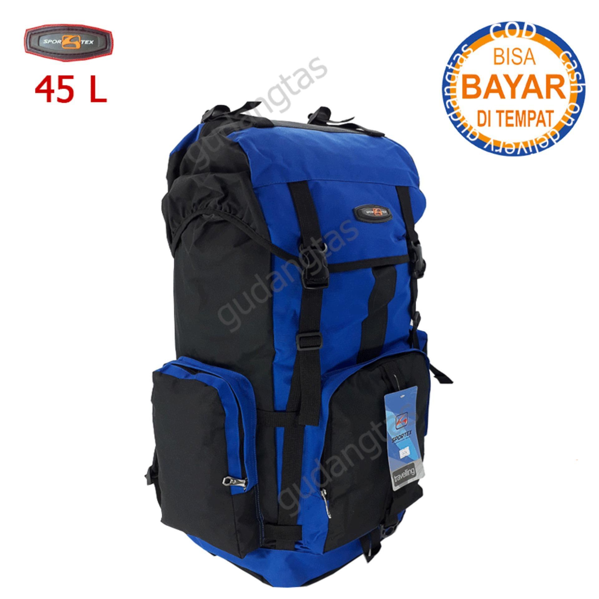 Sportex Tas Gunung Tas Keril Tas Carrier Ransel Camping Tas Hiking 45L  04YY40L Biru Terang kombinasi Hitam