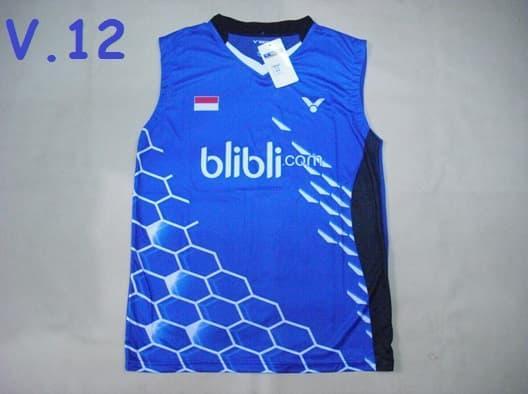 PROMO!!! Baju Badminton / Bulutangkis Singlet Victor V.12 Indonesia BliBli Blue - Ld75cC