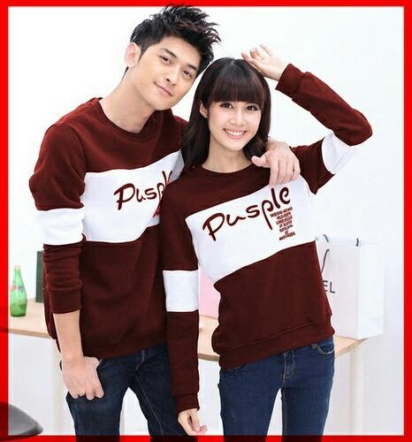 Kedai_baju Kaos Couple Murah / Kaos Lengan Panjang / Cp Pusple- Lz By Kedai_baju.