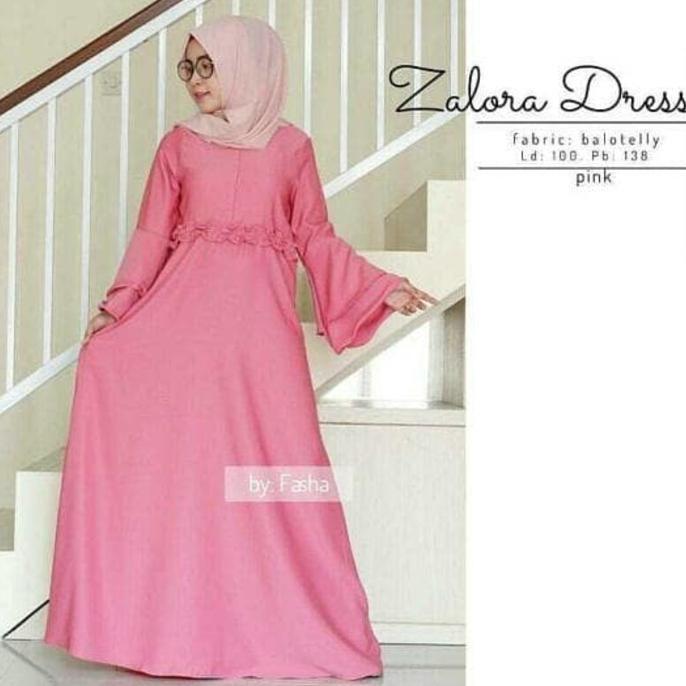 Best Seller Baju Atasan Muslim Murah / Gamis Murah Zalora Dres Pink | Baju Lebaran Muslim Wanita