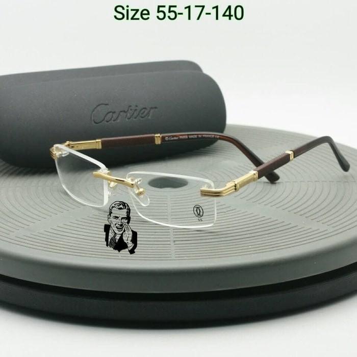 Frame Kacamata Cartier 809 Black Kacamata Pria Kacamata Premium Variasi Tidak Ada