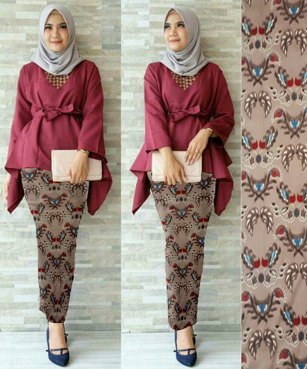 J&C Setelan 2In1 Nafira Absol /  Atasan Wolpeach / Rok Batik Prada / Setelan Kebaya 2 in 1 / Baju Pesta / Kebaya Muslim / Rok Panjang Batik / Rok Batik / Baju Muslim / Hijab Style / Hijab Fashion