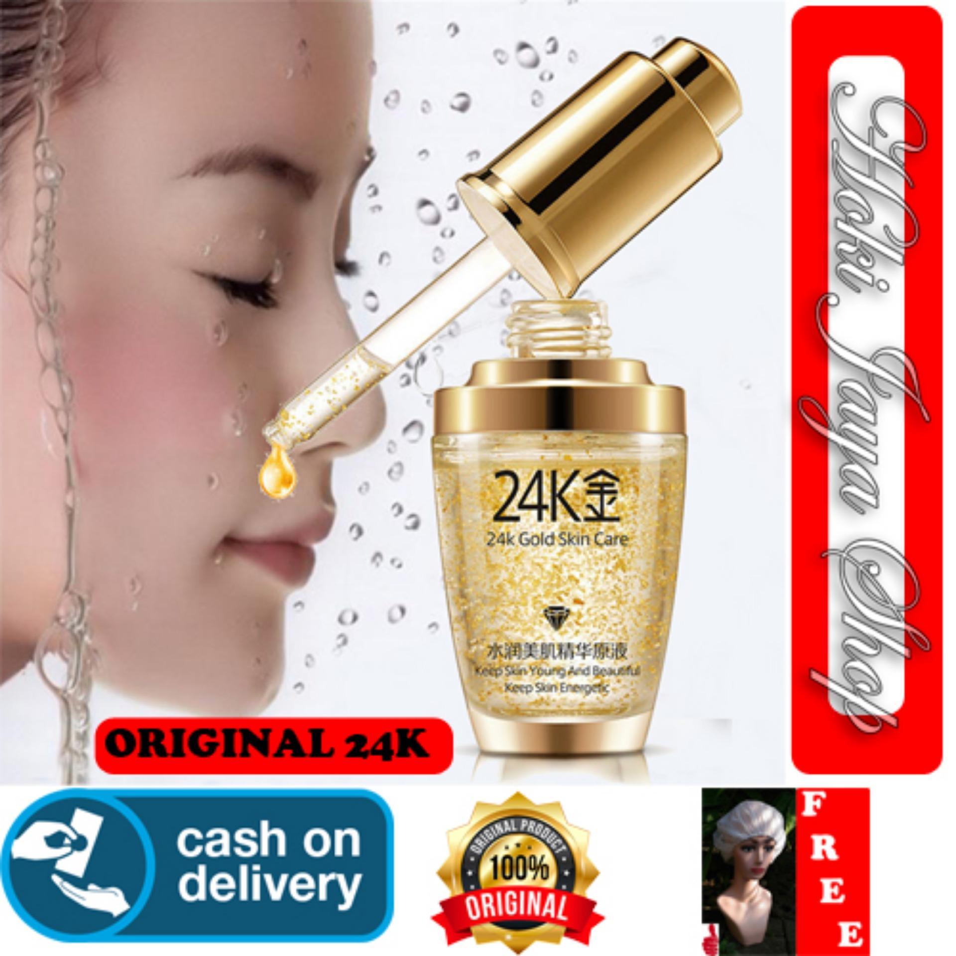 HOKI COD - Serum Wajah Emas 24K Bioaqua 24k Gold Bioaqua bb Cushion Skin Care Penghilang Kantung Mata dan Kerutan Wajah + Gratis Shower Cap Putih Premium