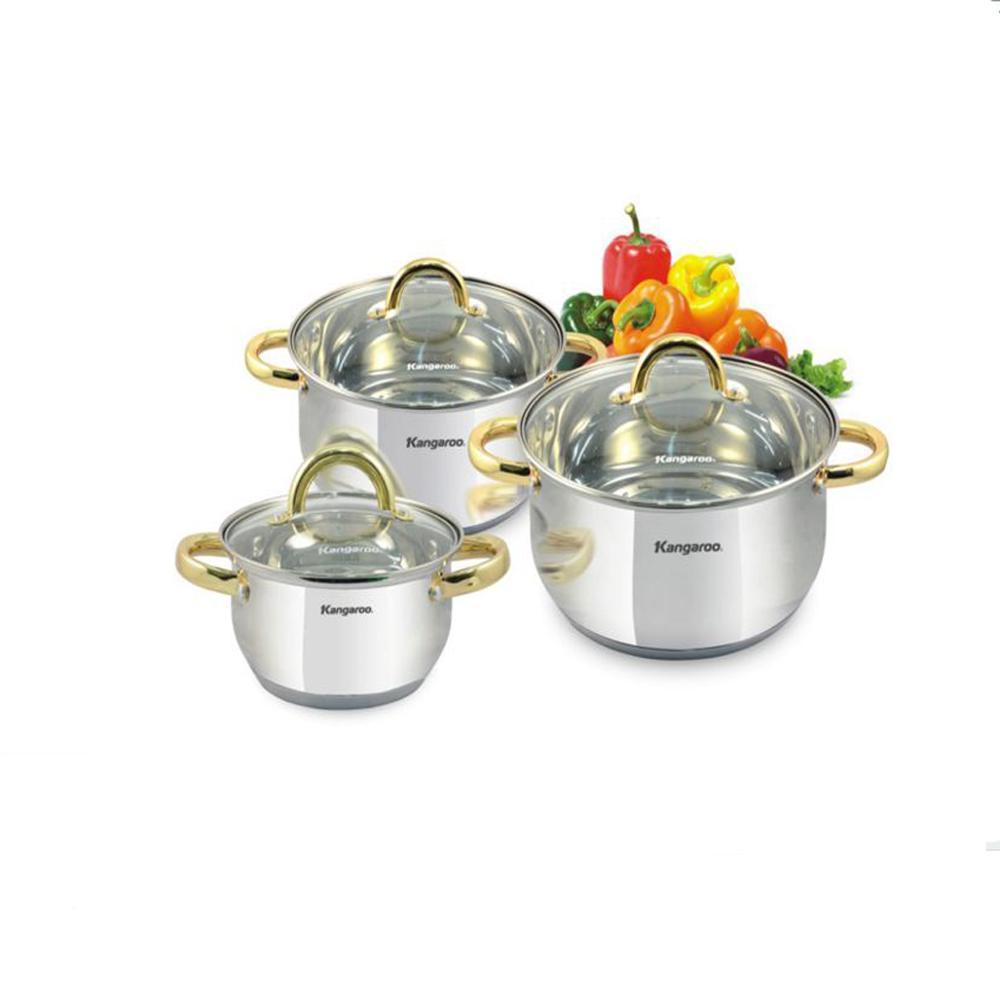 Kanggaroo KG864 Cookware Set / Panci Set Isi 3 PCS Harga Murah