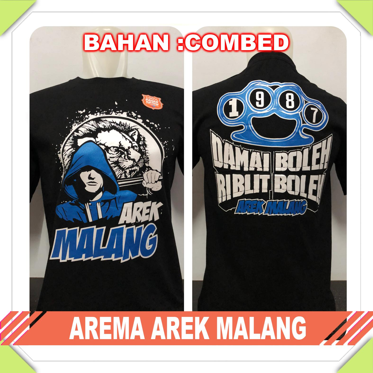 Suppliernatgeo - Kaos T-Shirt Distro / Kaos Pria / Tshirt Pria / Distro Pria / Baju Pria Premium Bola Indonesia Arema Arek Malang - Hitam