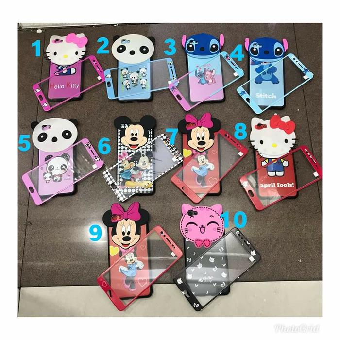 Case Karakter Murah Unik plus Glass 3D Xiaomi Redmi Note 4X