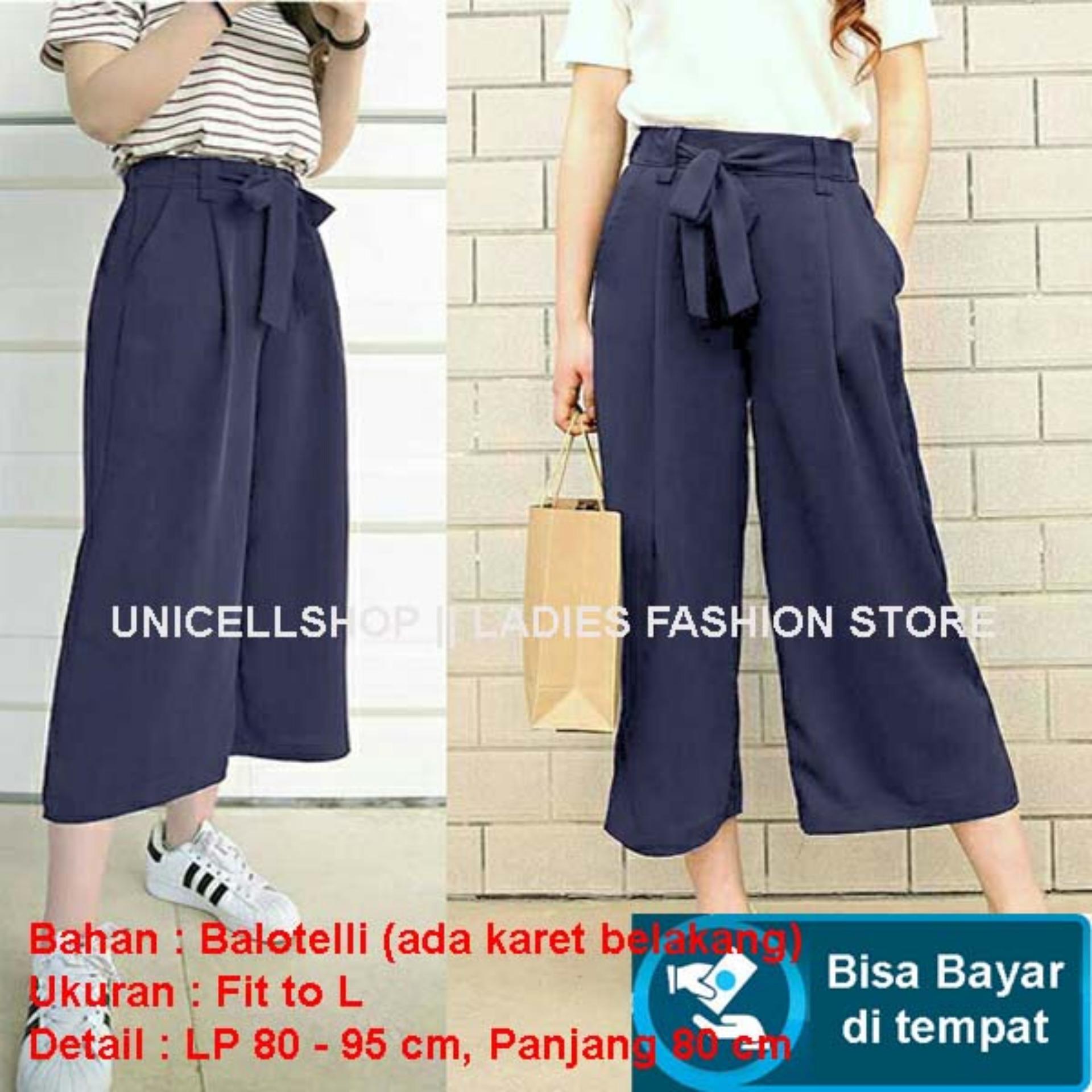 Baju Wanita Shop Celana Kulot Wanita  Long Pant Cullote Scuba  Fashion Polos  Modis Model Terbaru S3 (lotku) - Navy Biru Dongker