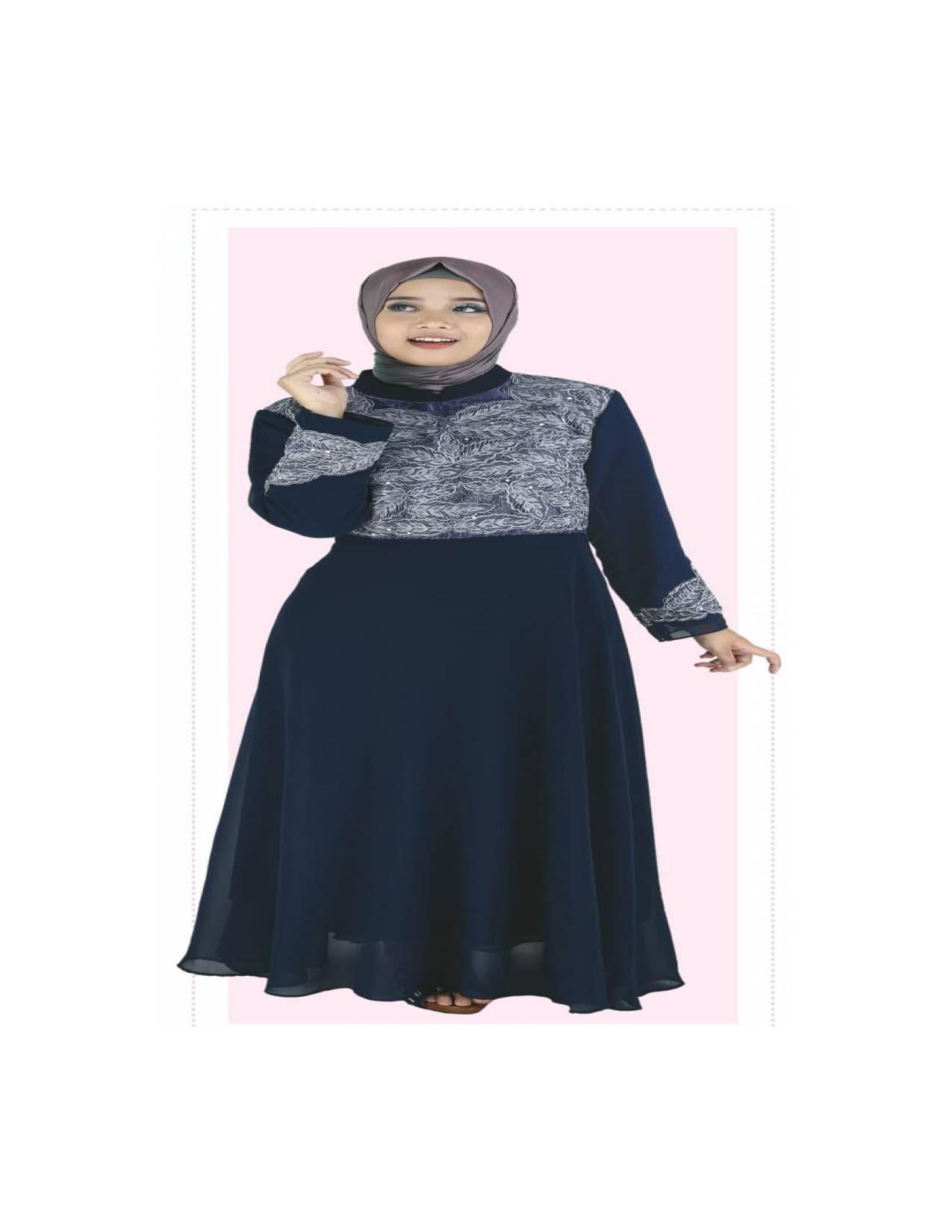 Baju Muslim Koko Pakistan Gamis Dress Casual Wanita Pria Anak BiruNavy