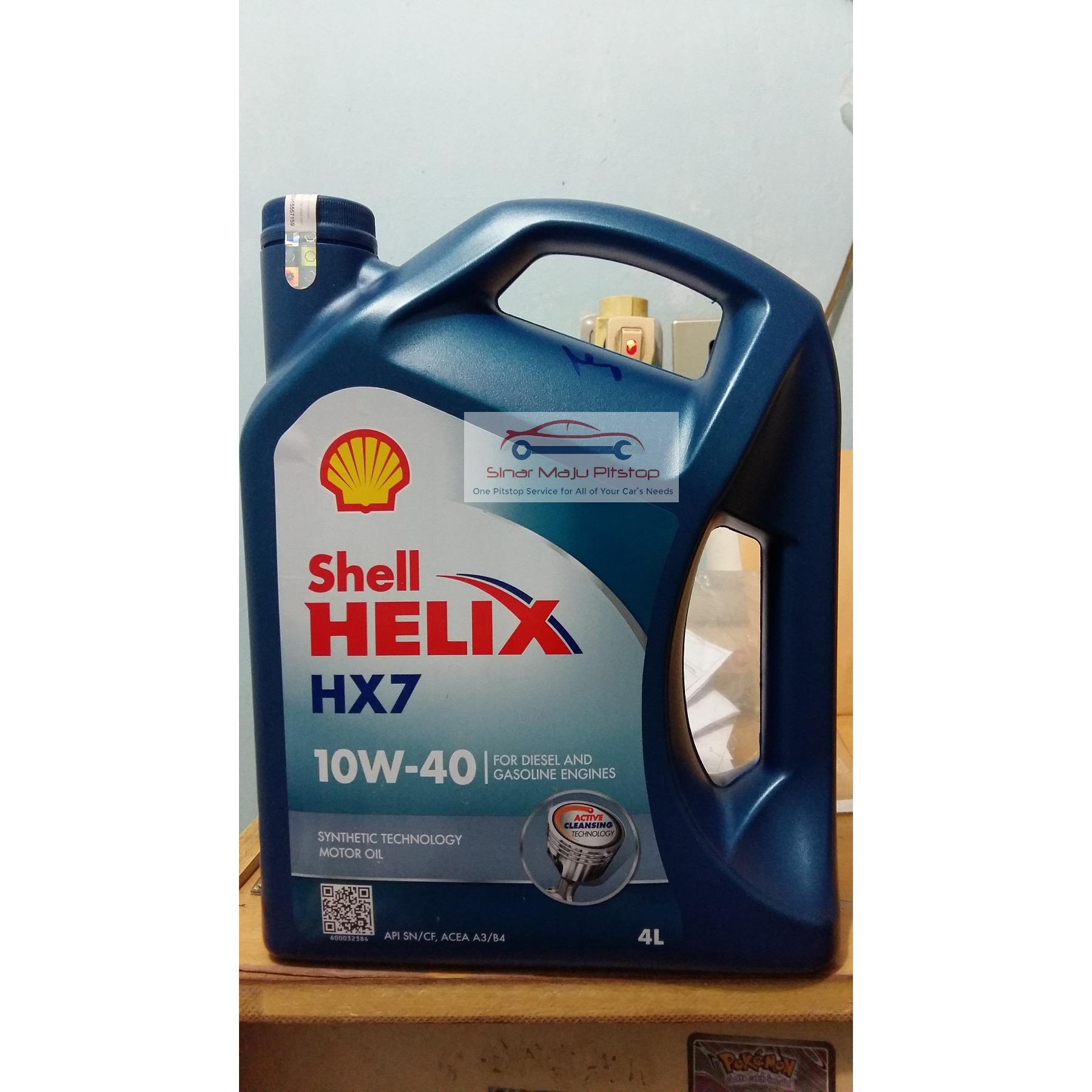 Shell Helix HX7 10W-40 API SN CF- Pelumas Oli Mesin Mobil Kemasan Baru Segel Hologram ORIGINAL BISA DICEK KEASLIAN NYA DI WEBSITE