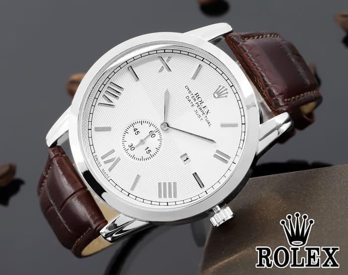 Jam tangan pria / Jam tangan pria original / Jam tangan pria murah / Jam tangan pria terbaru / Jam tangan pria swiss army / Jam tangan pria terbaik / Jam Tangan Pria / Cowok Rolex Oyster 02 Leather Brown Silver DISKON MURAH!!!