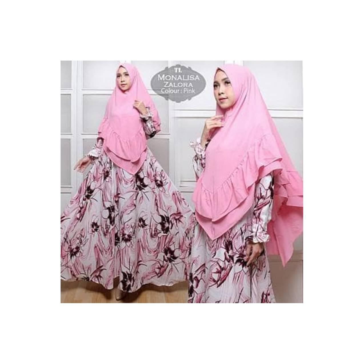 Baju Wanita Muslim Murah [Syari monalisa Zalora Pink TL] gamis wanita