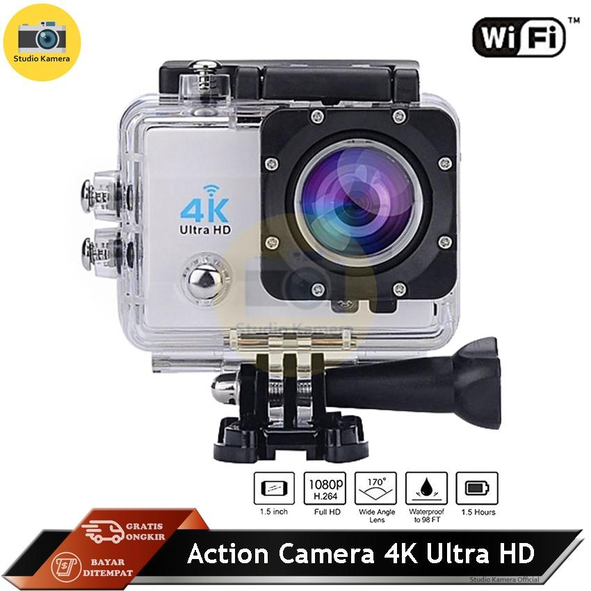 Studio Kamera - Action Camera 4k Ultra Hd 16mp Wifi 1080p / 60fps 2.0 Lcd 170d Kamera With Waterproof Case - Warna Random By Studio Kamera.