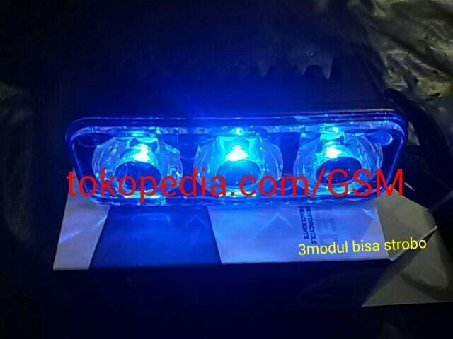 Lampu sorot LED RTD E 03 NEW 3 modul strobo tembak kabut cahaya biru