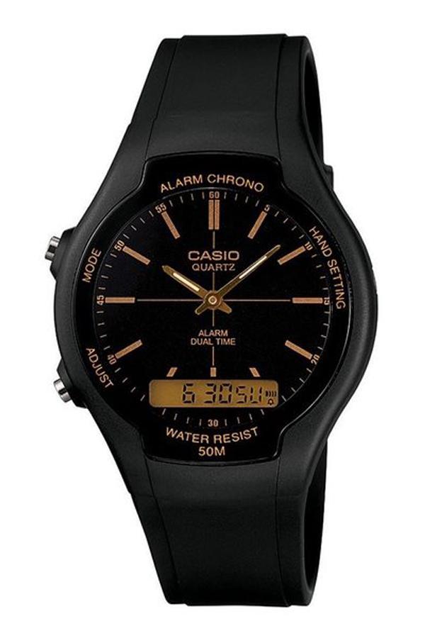 CASIO ORIGINAL Standard AW-90H-9E - Jam Tangan Pria - Black - Strap