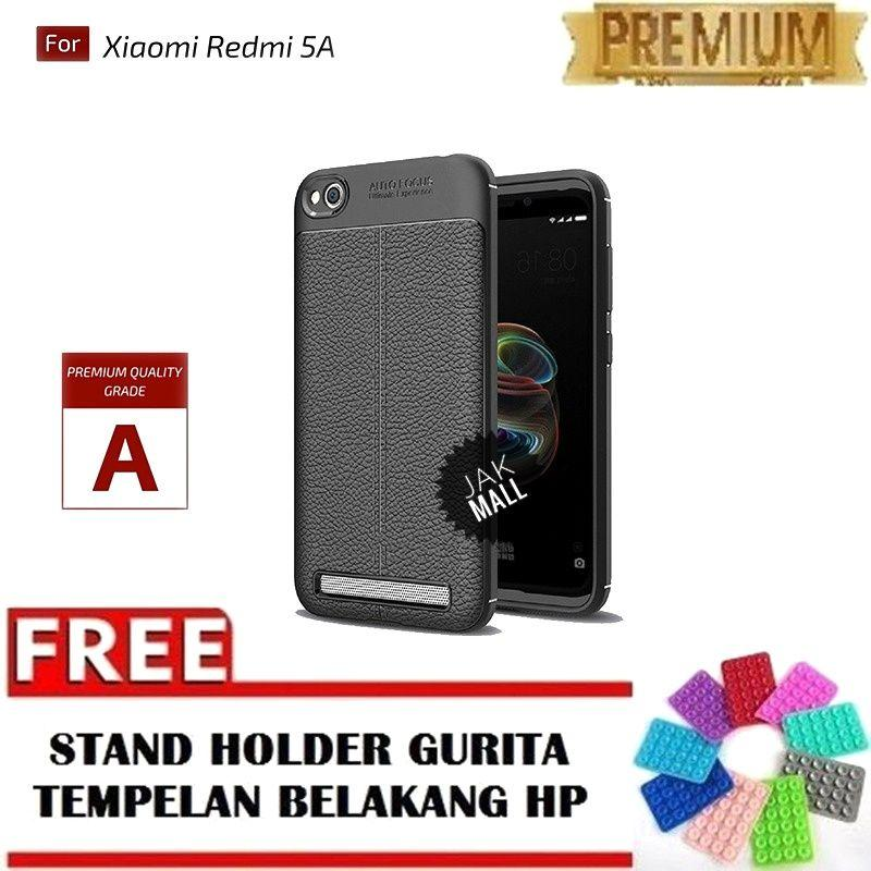Jak Shop Leather Softcase For Xiaomi Redmi 5A - Black - FREE Holder Gurita