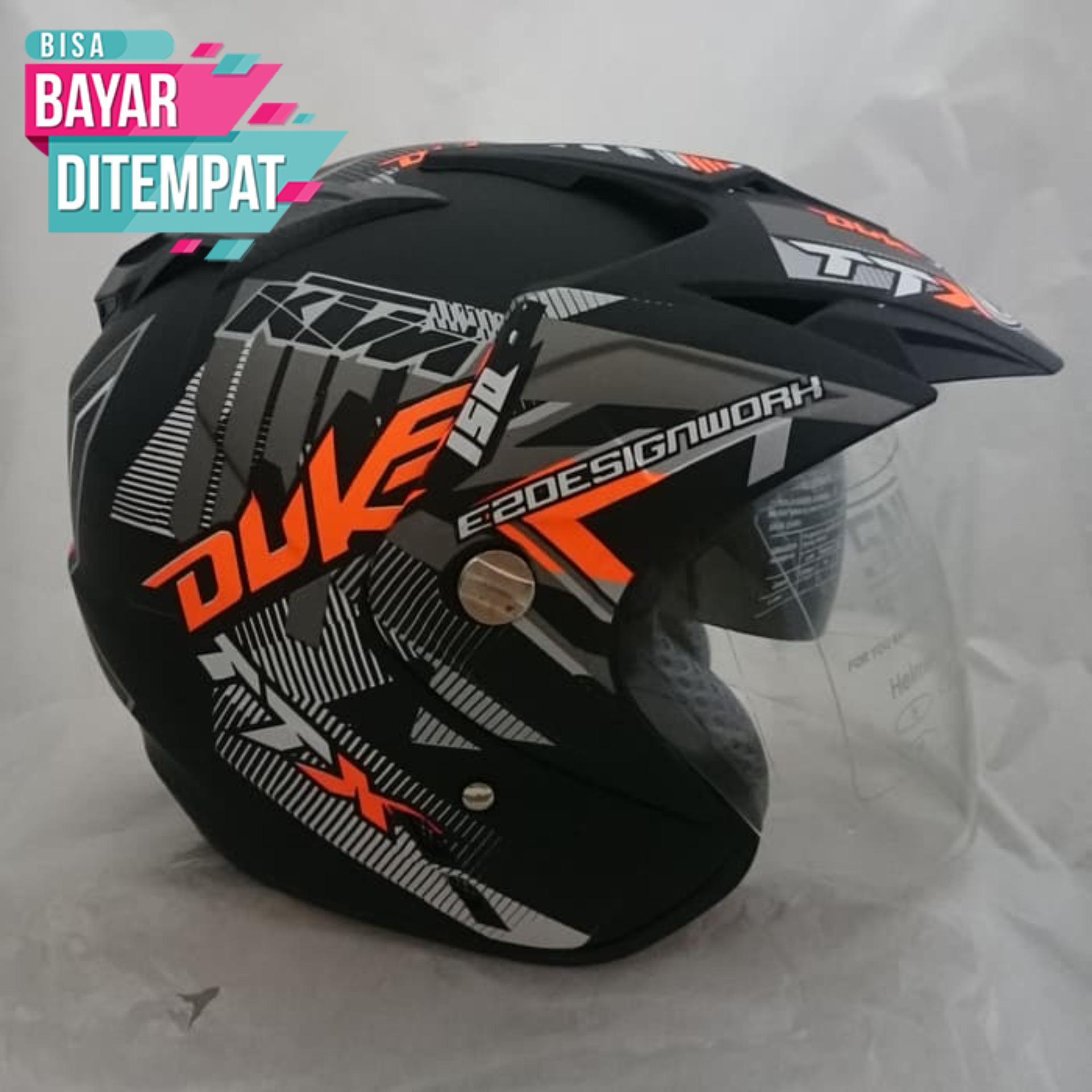 Helm DMN BXP 2 kaca jp-7 (Double visor) Duke orange