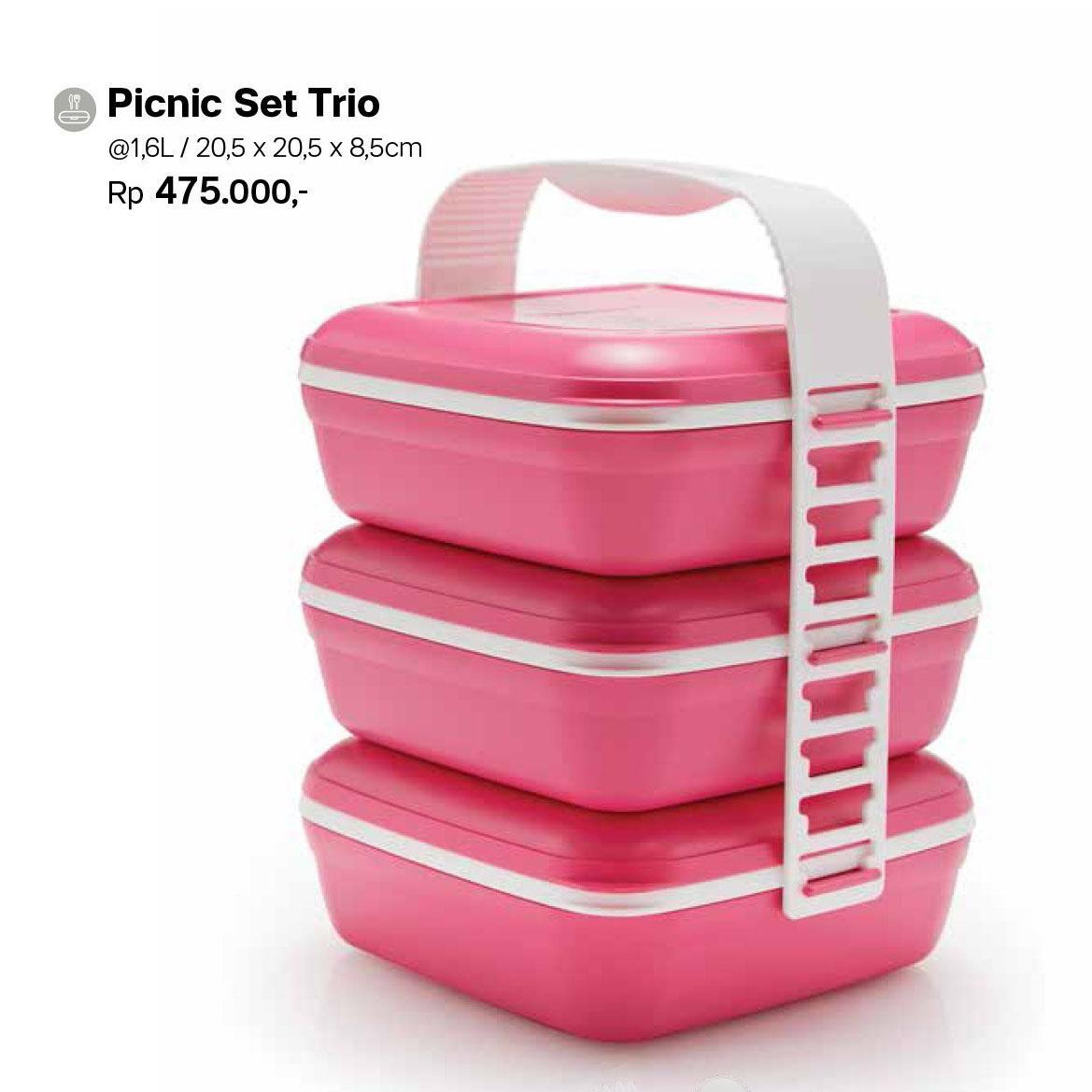Tupperware picnic set trio new - rantang 3 susun ukuran jumbo warna pink produk tupperware