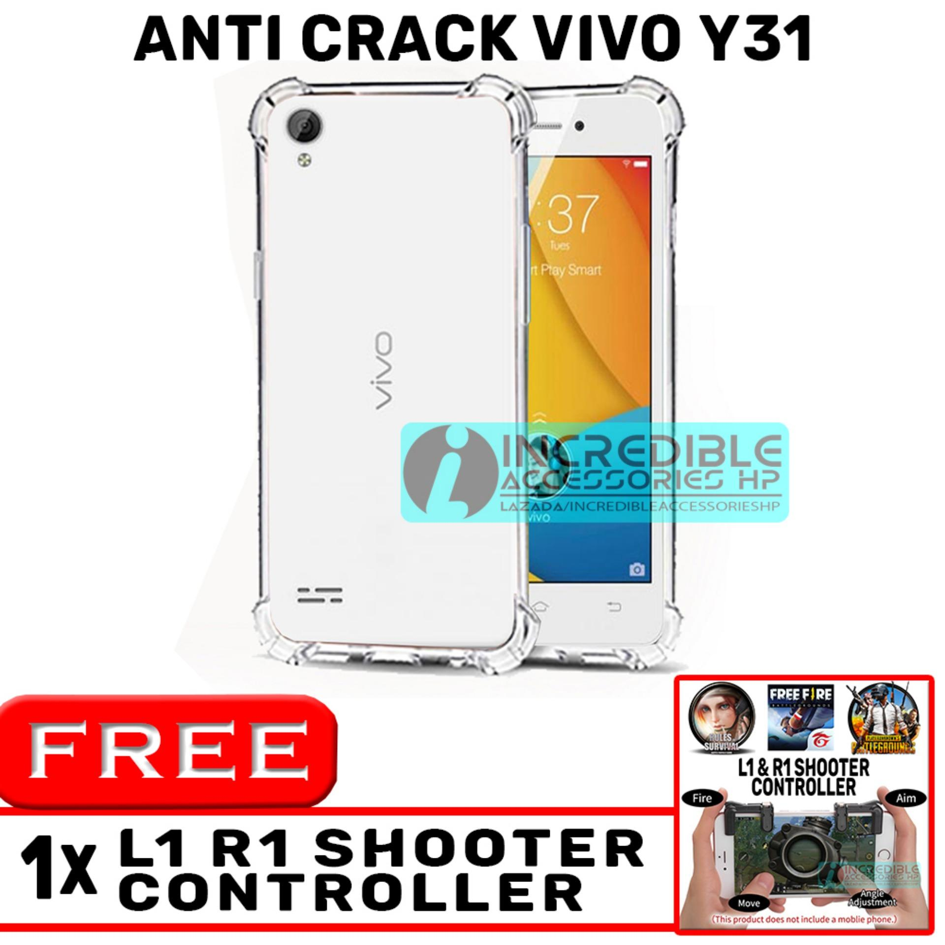Anti Crack for Vivo Y31 Softcase Elegant Anti Shock Jelly Case - Bening + Free PUBG Mobile L1 R1 Shooter Controller