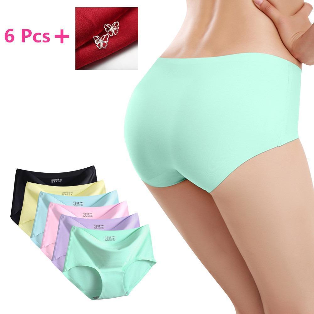 6 Pcs Musim Semi dan Musim Panas Seamless Satu Potong Setelan Es Sutra Wanita Pakaian Dalam M-XL Ukuran Pinggang Celana Panties warna-warni-Internasional
