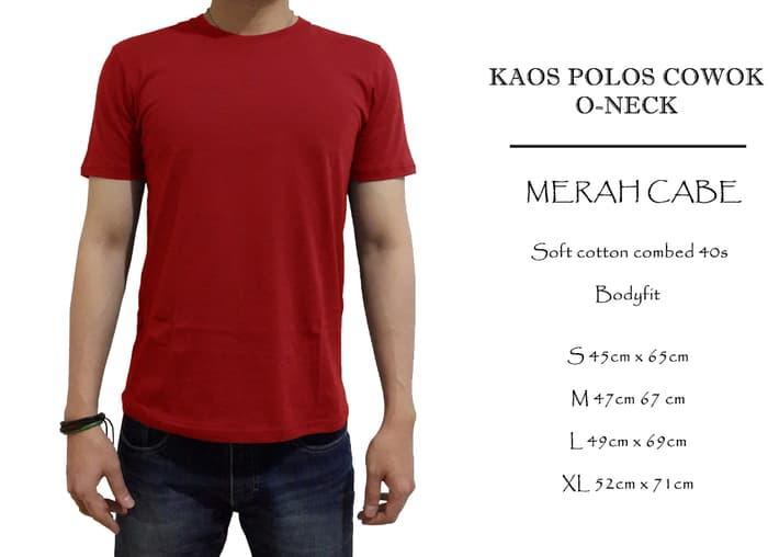 kaos polos cowok cotton combed 40s merah cabe oneck - YOnVjp