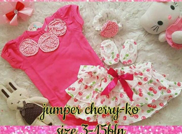 setelan jumper rok bunga free bandana dan sepatu - baju Anak Perempuan - Baju Setelan Bayi Cewek Lucu
