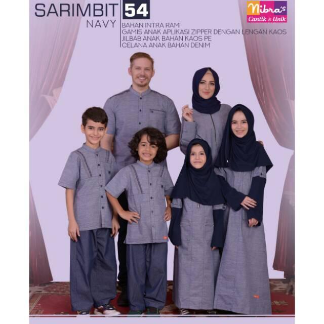 (TERBARU) Diskon Nibras Sarimbit 54 Navy Gamis Bahan Intra Rami Busui Friendly Couple Murah Berkualitas (Ayah XXL)