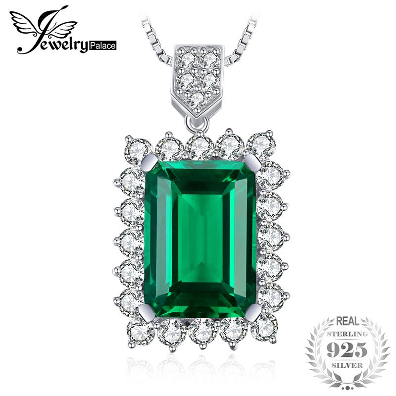 Jewelrypalace Luxury 6.5ct Created Nano Russia Emerald Solid 925 Sterling Silver Pendant Not Include A Chain