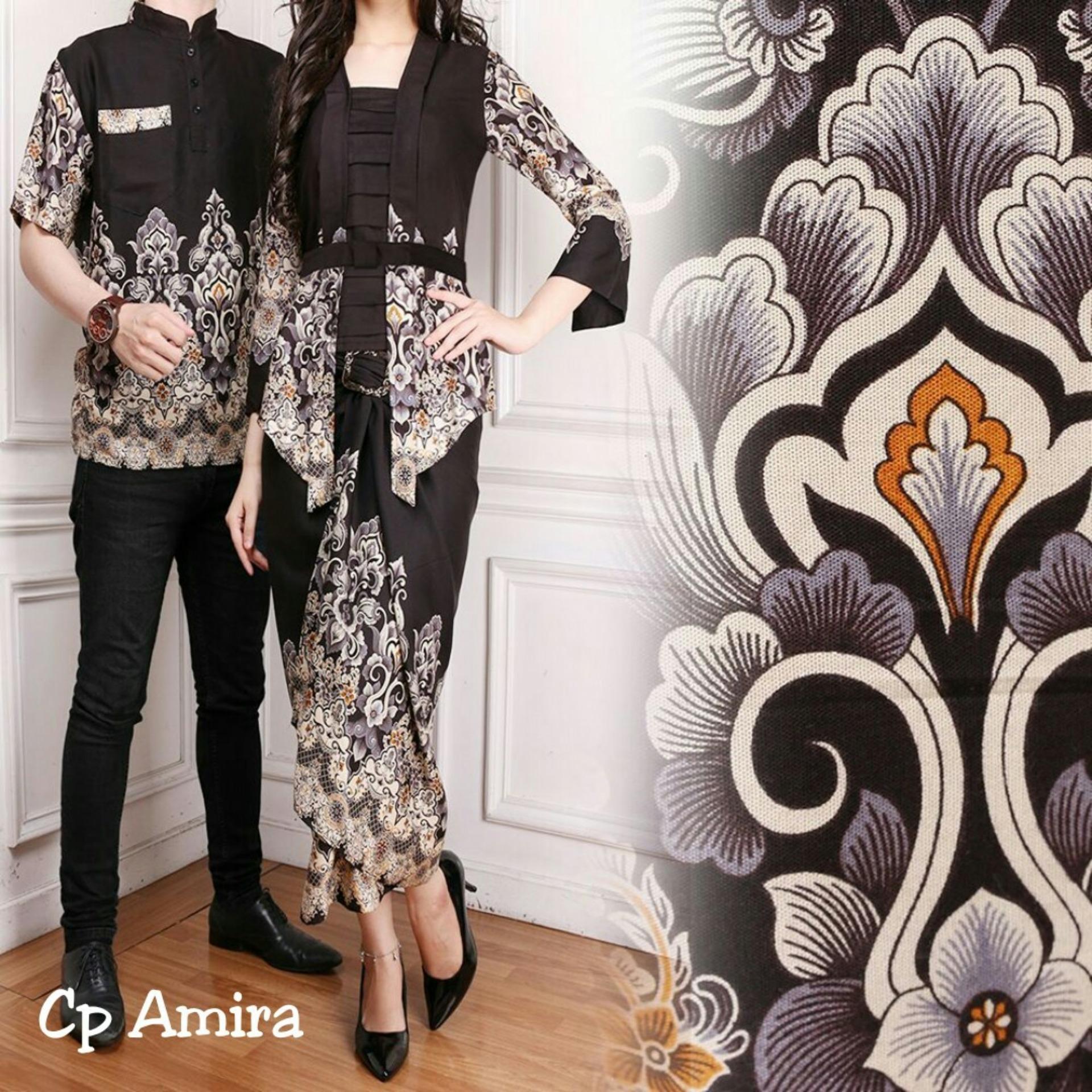 Kedai_baju Batik Couple Motif Asli / CP Amira Hitam - IA