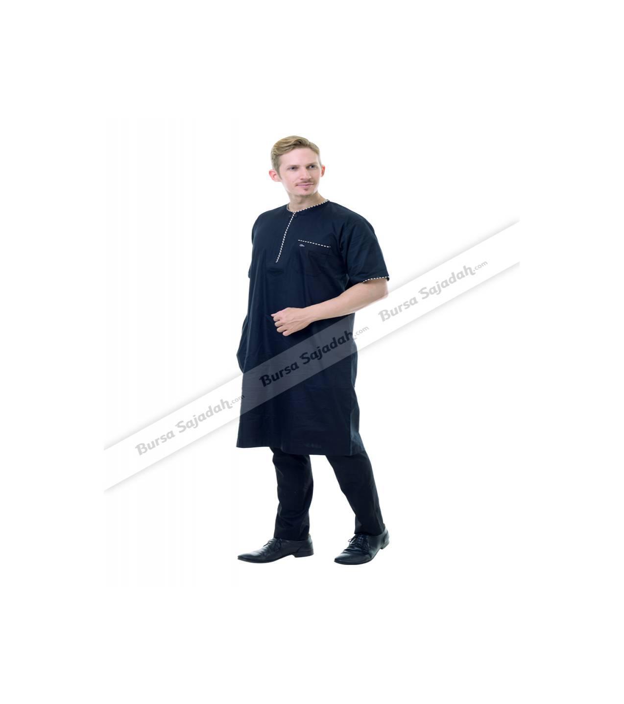 Baju Busana Koko Muslim Gamis Pendek Garis Laki laki - Afkhar Zaleera