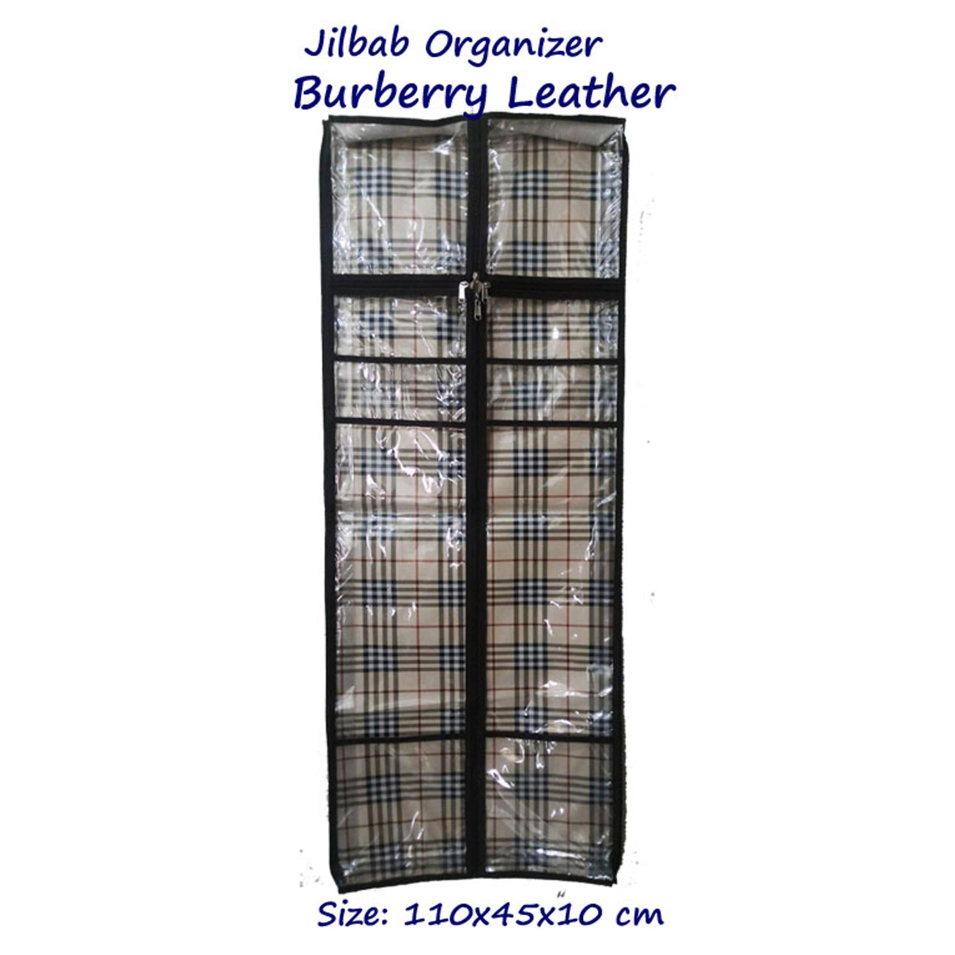 Paket Jilbab Organizer Karakter Burberry Leather Tempat Penyimpanan Hanger Susun Gantung Murah