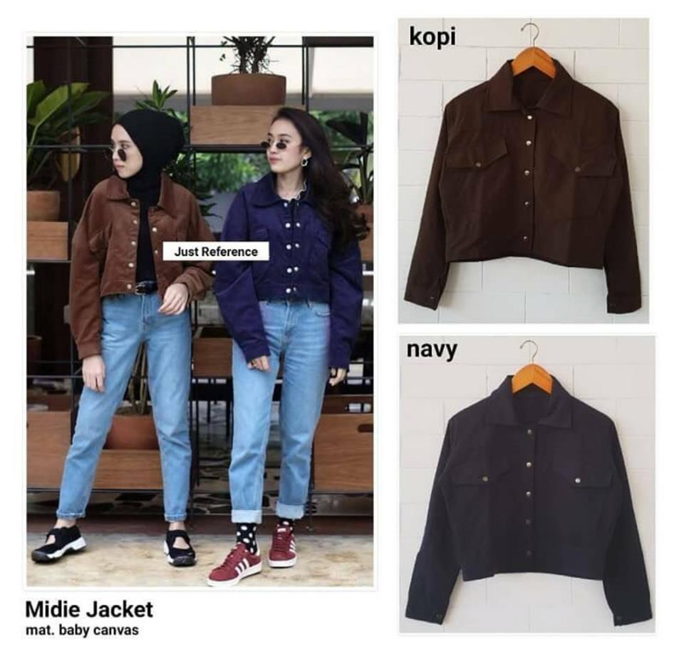 RIA_STORE POCKET MIDIE JAKET NAVY // FASHION JAKET KANVAS WANITA // JACKET FASHION-