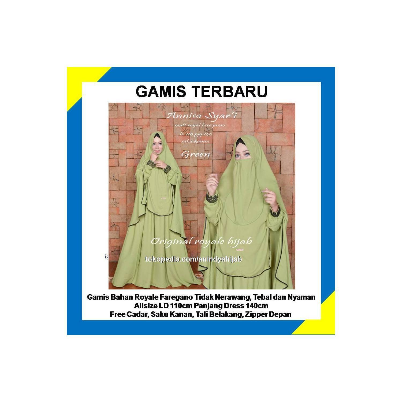 Gamis Terbaru Koleksi Royale Hijab    Annisa Syari Warna Hijau - Hijau muda, XL