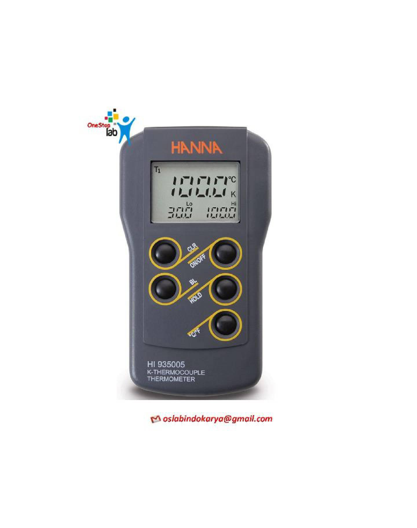 HANNA HI 935005 Digital Thermometer Thermocouple Type K, Waterproof